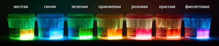Люминесцентно-флуоресцентные краски в темноте