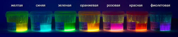Люминесцентно-флуоресцентные краски при УФ-свете