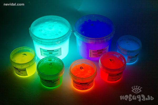 Светящиеся краски всех цветов свечения