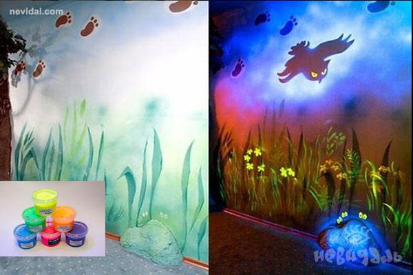 Дизайн интерьера с помощью флуоресцентных красок